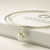 White Flower Stacking Charm Bangles in Sterling Silver