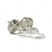 Grey Lampwork Glass and Sterling Silver Earrings