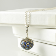 Grey and Blue Lampwork Glass Necklace