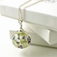 Blue and White Flower Necklace in Sterling Silver and Lampwork Glass
