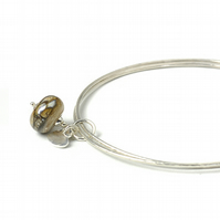 Sterling Silver Charm Bangles with Marbled Bronze Lampwork Glass Charm