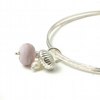 Pebble Pink Sterling Silver Shell and Pearl Charm Bangles