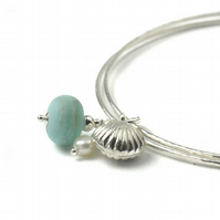 Beach Blue Sterling Silver Shell and Pearl Charm Bangles