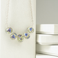 Handmade Blue and White Lampwork Glass Flower and Sterling Silver Necklace