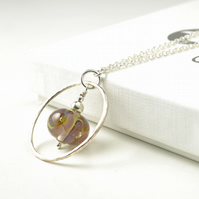 Flower Hoop Necklace in Handmade Glass and Sterling Silver