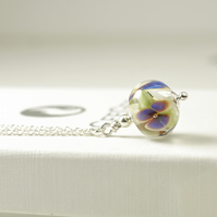 Blue and White Flower Necklace in Handmade Glass and Sterling Silver