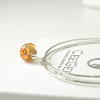 Sterling Silver Charm Bangles with Apricot Flower Charm