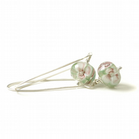 Handmade Glass Flower Earrings on Sterling Silver Hooks