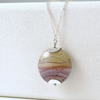 Heather Lampwork Glass and Sterling Silver Necklace