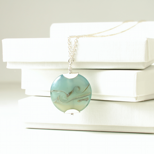 Aqua Blue Lampwork Glass and Sterling Silver Necklace