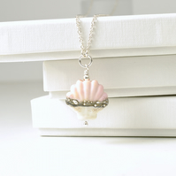 Pink Shell Necklace in Lampwork Glass and Sterling Silver