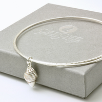Sterling Silver Shell Charm Bangles