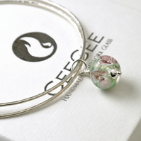 Flower Charm Bangles in Sterling Silver with Pink Floral Handmade Lampwork Glass