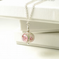 Mini Handmade Pink and White Lampwork Glass Floral Pendant on Sterling Silver