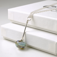 Pendulum Necklace in Lampwork Glass and Sterling Silver