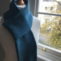 Gorgeous handknitted pure merino wool scarf in lovely turquoise, light blue