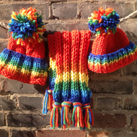 Chunky rainbow handknitted children, baby beanie hat with oversized pompom