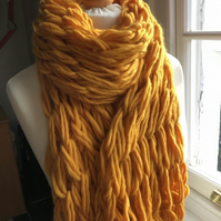 Chunky, over sized arm knit merino wool scarf, shrug, shawl in sunshine yellow