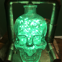 Steampunk Crystal Skull Vodka Multicolour LED Lamp with remote control