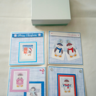 Box of penguin christmas cards
