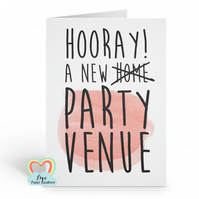 funny new home card - party venue - love paper rainbow