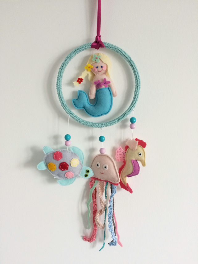 Baby mobile sea creatures, nursery decoration, soft colours