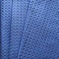 Coarsely knitted waffle fabric, 100% cotton, colour denim blue