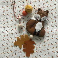Nursery and children's room hanging decoration, Cute handmade fox, Woodland