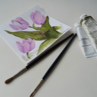 Original Hand Painted Greetings card or Notelet with Tulips