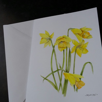 HAND PAINTED SPRING DAFFODIL CARD