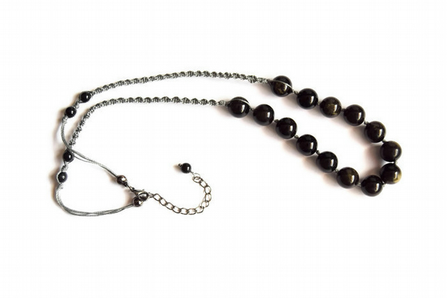 Womens Long Obsidian Bead and Macrame Necklace