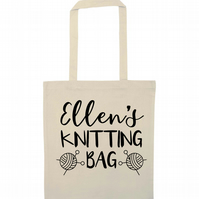 Personalised knitting bag perfect to stash your yarns in when on the go!