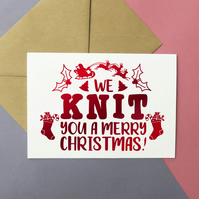 We knit you a merry Christmas festive greeting card for knitting lovers!