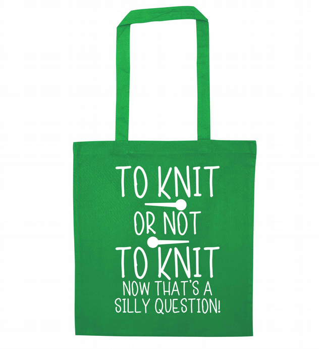 To knit or not to knit now that's a silly question! Tote bag long handles 6426
