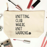 Knitting club where knit happens! Cotton zip bag knitting pouch 6427