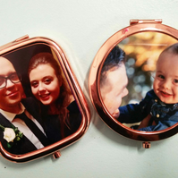 Rose gold pocket mirror personalised with your own photo or message with bag
