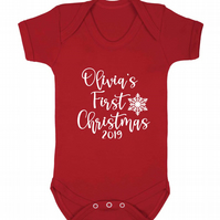 Personalised first Christmas baby vest 2019 choose from a range of colours!