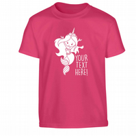 Mermicorn! Unicorn mermaid children's T-Shirt with any text! Birthday gift 6416
