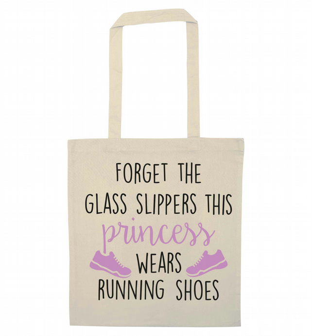 Forget the glass slippers this princess wears running shoes tote bag 1633