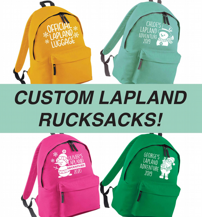 Personalised Lapland adventure rucksack choose your own design and colour!