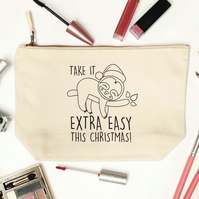 Take it extra easy this christmas makeup, toiletry zip canvas bag 6391