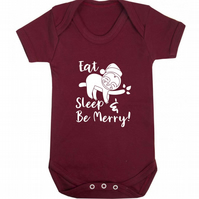 Eat sleep and be merry baby vest cute Christmas gift for newborn 6389