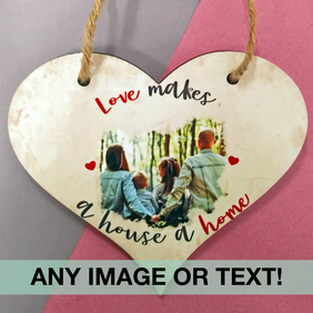Personalised double sided love heart plaque, any photo, any text!