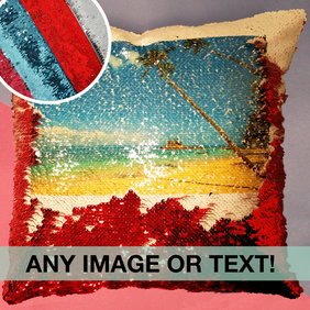 Personalised sequin cushions, any text, any photo choose from a range of colours