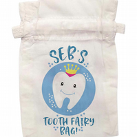 boys personalised tooth fairy bag