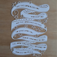 Papercut bible verse - handcut - The Lord bless you and keep you