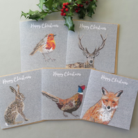 5 Christmas cards - a robin, stag, hare, pheasant and fox card