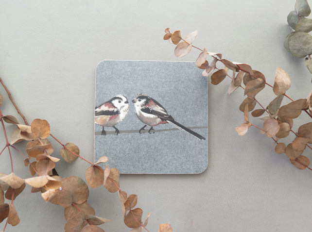 Long-tailed tit coaster