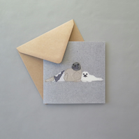Harp seal & pup card