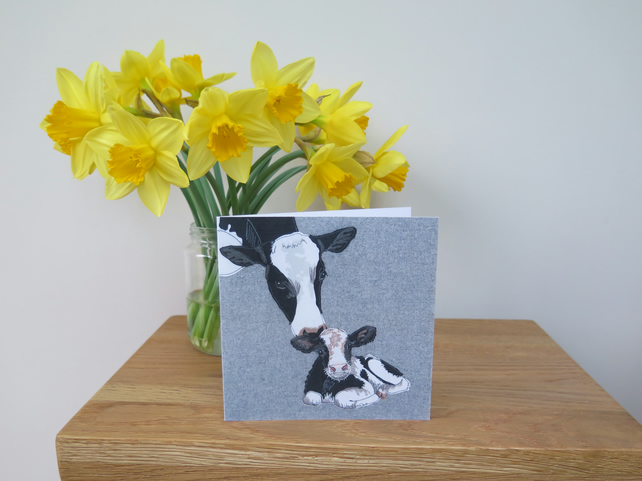 Friesian cow & calf card